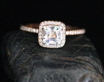 Cushion White Topaz and Diamond Halo Ring in 14k Rose Gold with Topaz Cushion 6mm and Diamond Ring