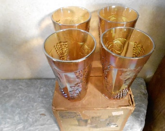 1970's Indiana Glass Co. Set of 4 Gold Iridescent Tumblers with Original Box