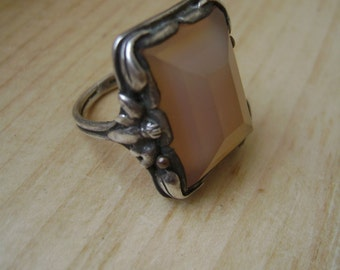 antique sterling and glass ring, size 4 and 1/2