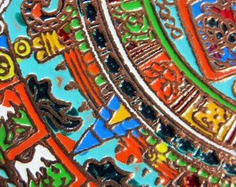 """Gorgeous Copper Plate With Inset Cloisonne Paint in Bright  Vivid Colors - 'Mexico' - 8"""" Diameter Souvenir Tray From Mexico - Symbols"""