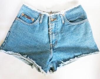 Vintage High Waist Beaded Piercing Distressed Denim Cut Off Shorts