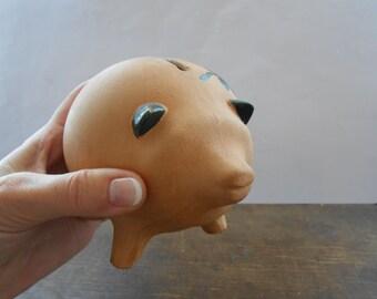 Swedish Vintage Coin Savings Bank Ceramic pig Money box Brown ceramic pig saving bank