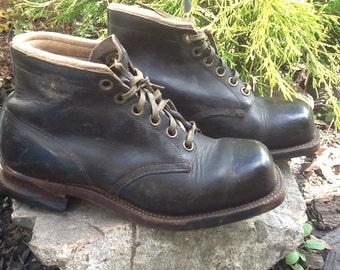 Sale!!  Vintage Original Chippewa Boots Leather Lace Up Rare Square Toe Men's Boots