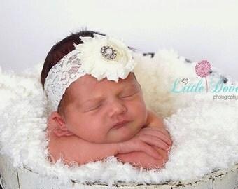 White Baby Headband..Newborn Headband..Baby Girl Headband..Headband..Infant Headband..Baby Headband.Baptism Headband
