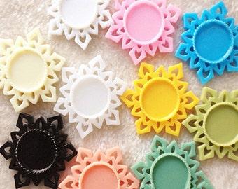 10pcs Mixed colors Victorian Resin Frozen Snowflake  frame cameo setting flatback cabochon 25mm