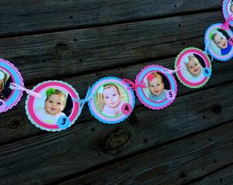 First Birthday Girl First Year Photo Banner, newborn-12 months, pink cupcake, green, blue