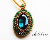 Ocean Jasper bead work statement necklace Bead embroidery pendant on a crochet bead rope Green gold OOAK