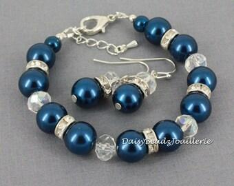 Bridesmaids Bracelet, Navy Blue Bracelet, Navy Pearl Bracelet, Bridesmaid Gift, Navy Blue Wedding, Bridesmaids Gifts, Wedding, Jewelry