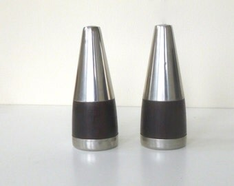 Vintage Danish Salt & Pepper Shakers -- Made in Denmark -- Wood and Steel