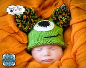 Halloween One-Eyed Monster Hat Newborn, Hand Knit Hat, Pom Poms, Costume, Baby, Boy, Girl, Monster Hat, One-eyed Monster