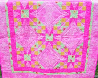 HANDMADE Tennessee Waltz Quilt, Wall Hanging, Lap, Wedding Gift, Baby Girl Crib Quilt Primitive Decor, Blanket, Pink, Lime Green, Gold