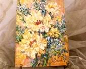 Vintage Original Floral Oil Painting Palette Knife Technique