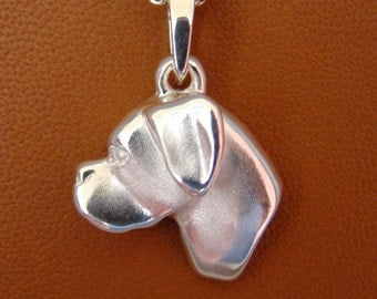 Large Sterling Boxer Head Study With Un-Cropped Ears Pendant