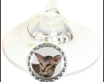 Cat Wine Charms - Feline Wine Charms - Cat Gifts  - Cat Glass Markers - Cat Glass Labels - Set Of 6