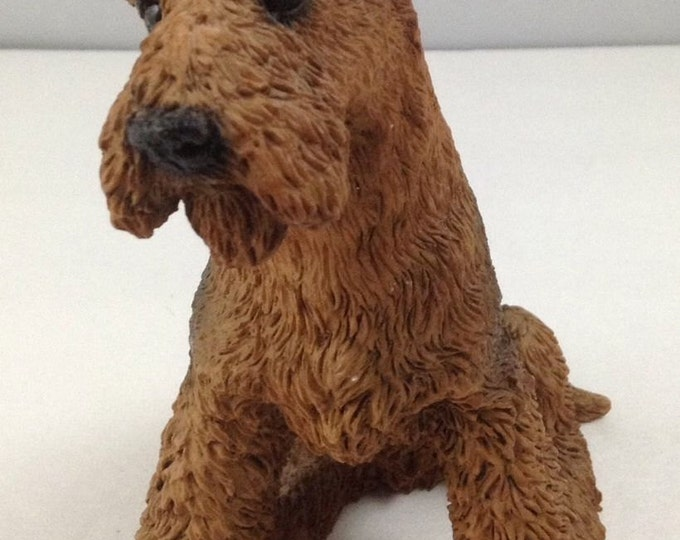 Castagna Figurine Airedale Dog, Vintage Dog 5 1/2 Inches Sitting Position, Stocking Stuffer, Christmas Gift
