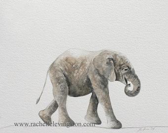 for baby boy nursery art PRINT nursery boy PRINT SET watercolor painting of elephant girl nursery decor wall art modern minimalist  11x14
