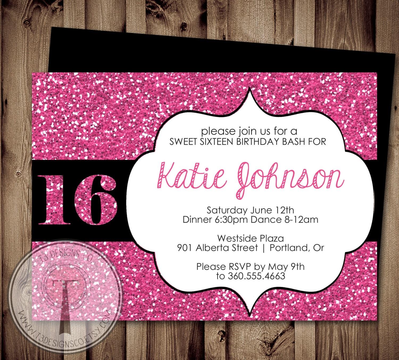 SWEET SIXTEEN Birthday Invitation Sweet 16 Birthday 16th