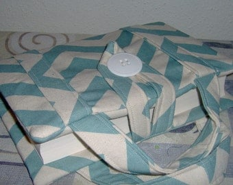 """Beautiful Chevron Blue Bible Cover with Handles  ( 9"""" x 6"""" )"""