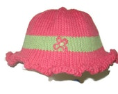 Summer Cotton Hat in Melon and Green colors with dainty flower for Toddlers, Girls and Moms
