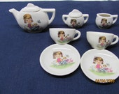 china tea set child's little girl w/ doll and buggy Japan