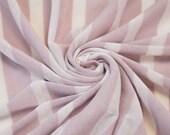 Mauve / Off White Stripes Knit Fabric Stretch Jersey Knit Fabric Stretch Stripe Jersey Fabric by the yard - 1 Yard Style 6056