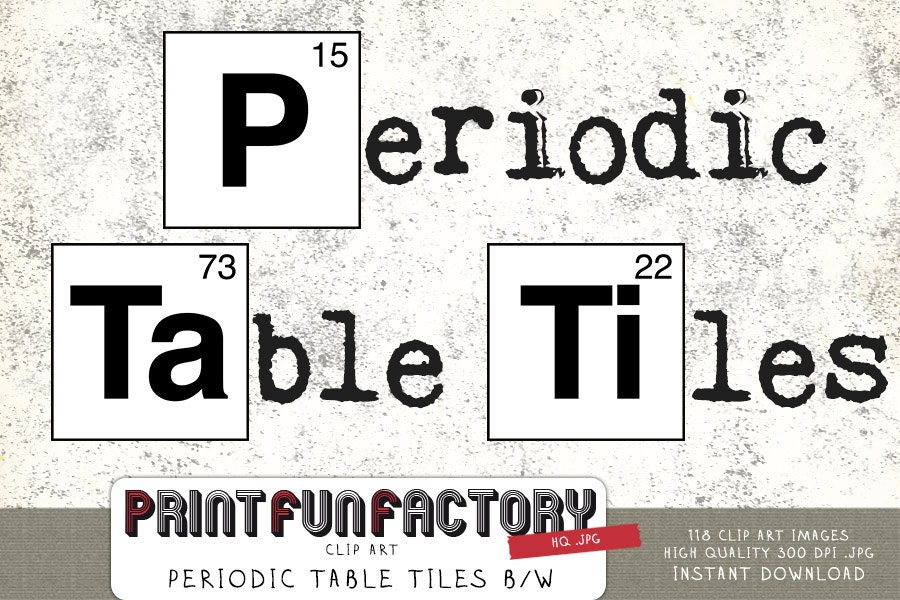 Periodic Table Tiles Black White Clip Art INSTANT DOWNLOAD