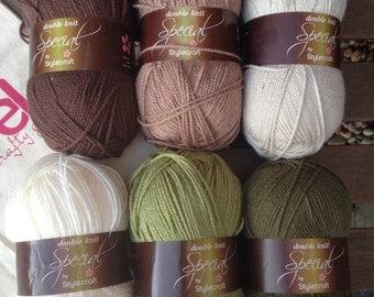 Granny stripe crochet blanket kit DK 'Woodland' - brown and green - various sizes