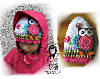 Crochet PATTERN, Crochet hat pattern, Crochet owl pattern, Hat with Jolly Owl, DIY Pattern 70