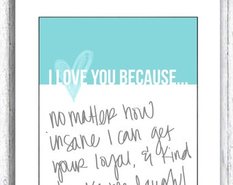 Colorful I love you because print for dry erase frame