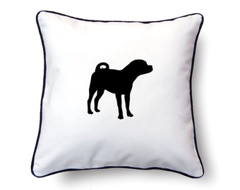 Puggle Pillow 18x18 - Puggle Silhouette Pillow - Personalized Name or Text Optional