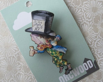 Wood Brooch - Mad Hatter (Alice in Wonderland)