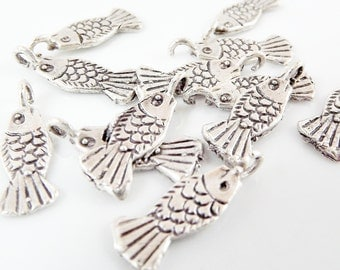 12 Rustic Fish Charms - Matte Silver Plated