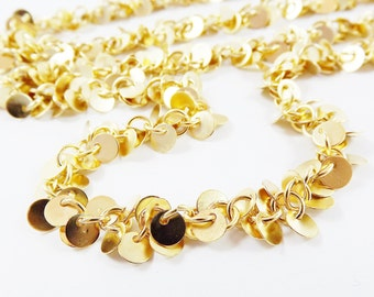 Mini Round Disc Cluster Chain  - 22k Matte Gold Plated -  Non Tarnish - 1 Meter  or 3.3 Feet