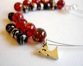 Row counter bracelet for knitting and crochet: abacus bracelet, red and black - UK seller