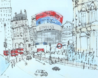 PICCADILLY CIRCUS LONDON Art, Original Acrylic Painting, Hand Painted Screen Print, Red Bus London Architecture, Drawing, Clare Caulfield
