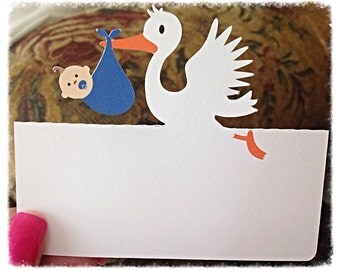 Stork holding baby place cards