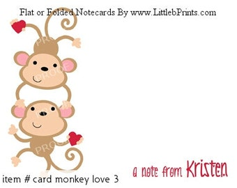 Monkey Hearts Friends Siblings Note Cards Set of 10 personalized flat or folded cards