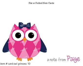 Purple Pink Owl Note Cards Set of 10 personalized flat or folded cards