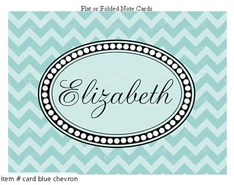 Blue Chevron Note Cards Set of 10 personalized flat or folded cards