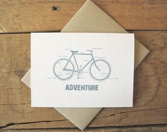 Bike Card, Bicycle Card, Labeled Bike Card, Hipster Card