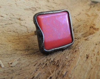 s a l e,     Cinnabar color,  STATEMENT ring, red ring, Adjustable Ring, One of a Kind,  ring by MARIAELA, tiffany ring, fall ring