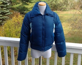 Beconta blue 70s Mod Down Jacket with Matching Ski Pants