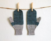 Women's mittens in grayed jade and light grey, green hand knit gloves, 100% finnish wool, colorblocked