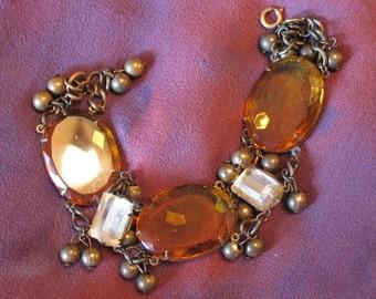 1930s Bracelet, Topaz Colored Beveled Glass Antique Bracelet, Art Deco Czech Bracelet, Czech 30s Art Nouveau Bracelet, Boho, Czechoslovakia
