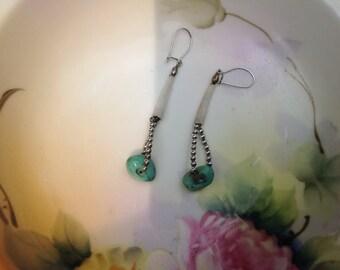 Vintage Sterling Native American Turquoise Earrings