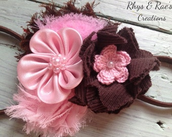 Pink and Brown Fabric Flower Headband, Girls Headband, Brown Headband, Flower Hair Bow, Pink Headband, Baby Girl, Newborn, Toddler Hair Clip