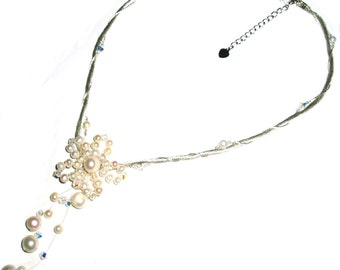 Ivory / Dusky Pink / Black or Bronze Wedding Necklaces with Swarovski Style Crystals - (26cm - 31cm) - UK Based
