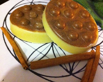Cinnamon Mandarin Scrub Exfoliating Cocoa Butter Lotion Bar, Bath Truffle, Scrubby bar