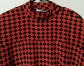 Vintage 1980s Womens Red and Black Diamond Checkered Top with Dolman Sleeves Size XL 14/16