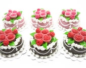 Set of 6 Round Cakes Rose Top Dolls House Miniatures 2 cm Cake Supply Deco Charms - 10071